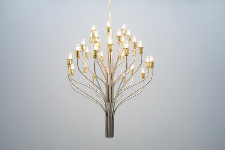 Large Chandelier by WKR Germany in Metal, Glass and Brass, 1980s For Sale 9