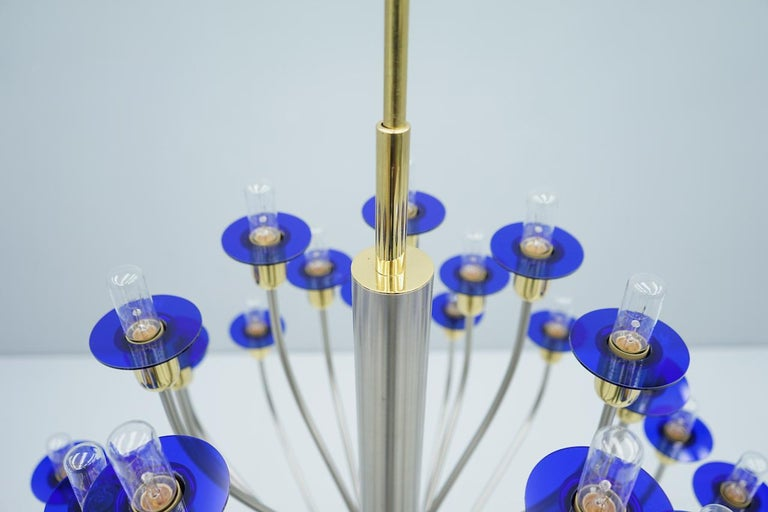 Large Chandelier by WKR Germany in Metal, Glass and Brass, 1980s In Good Condition For Sale In Frankfurt / Dreieich, DE
