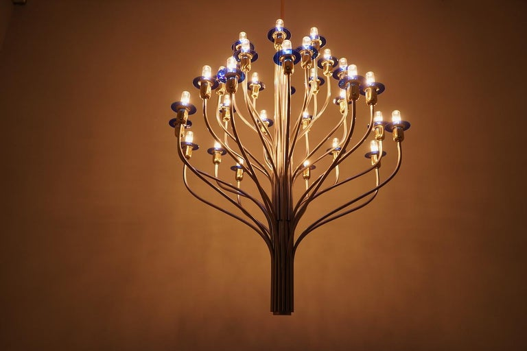 Late 20th Century Large Chandelier by WKR Germany in Metal, Glass and Brass, 1980s For Sale