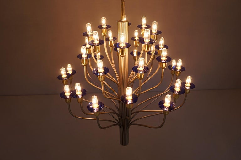 Large Chandelier by WKR Germany in Metal, Glass and Brass, 1980s For Sale 3