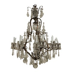 Large Chandelier Crystal Pendants Italy, Early 1900s