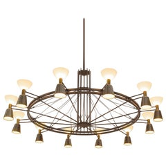 Large Chandelier in Brass and Opaline Glass