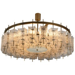 Large Chandelier in Brass and Structured Glass