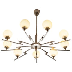 Large Chandelier in Chrome and Opaline Glass, Italy, 1950s