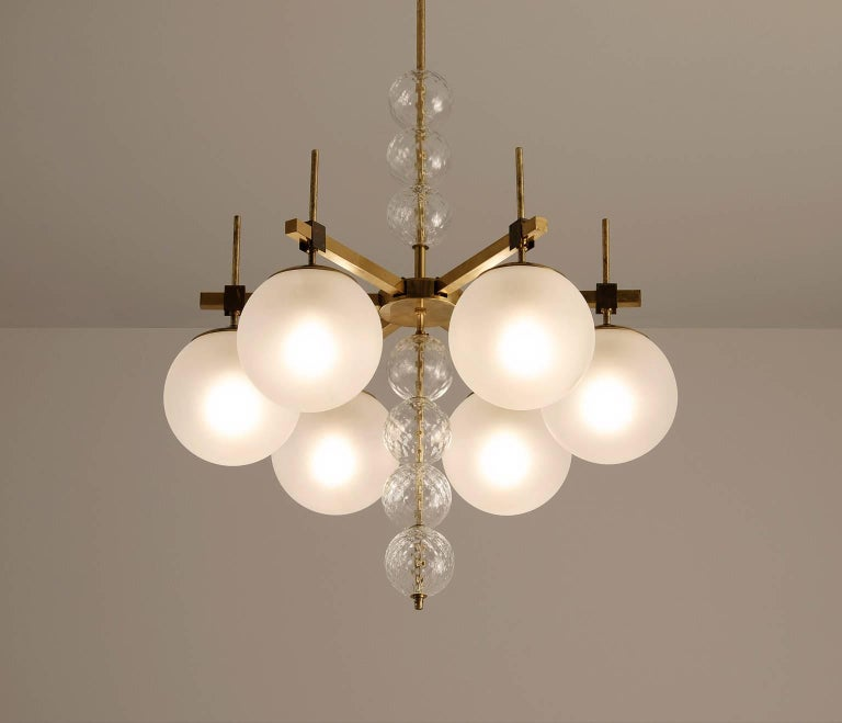 Mid-Century Modern Large Chandelier in Frosted Glass and Brass