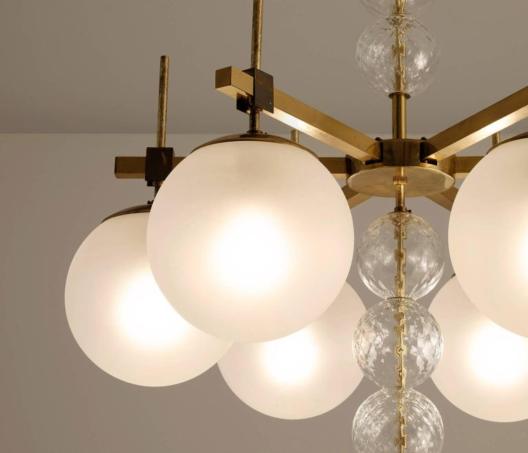 European Large Chandelier in Frosted Glass and Brass
