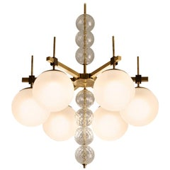Large Chandelier in Frosted Glass and Brass