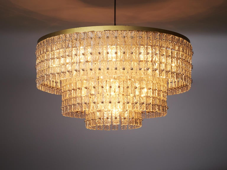 Extraordinary large chandelier in glass and brass, Austria, 1950s.