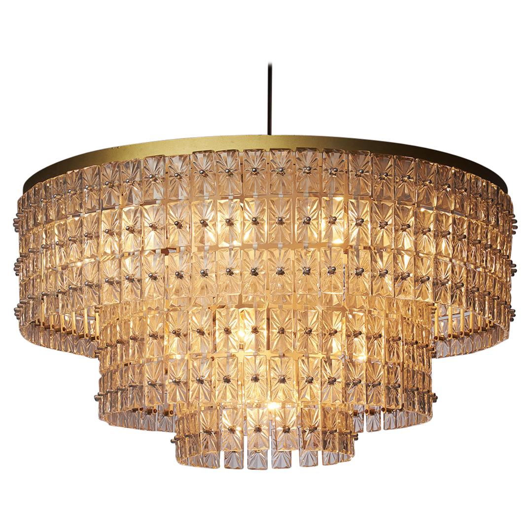 Large Chandelier in Glass and Brass, Austria, 1950s