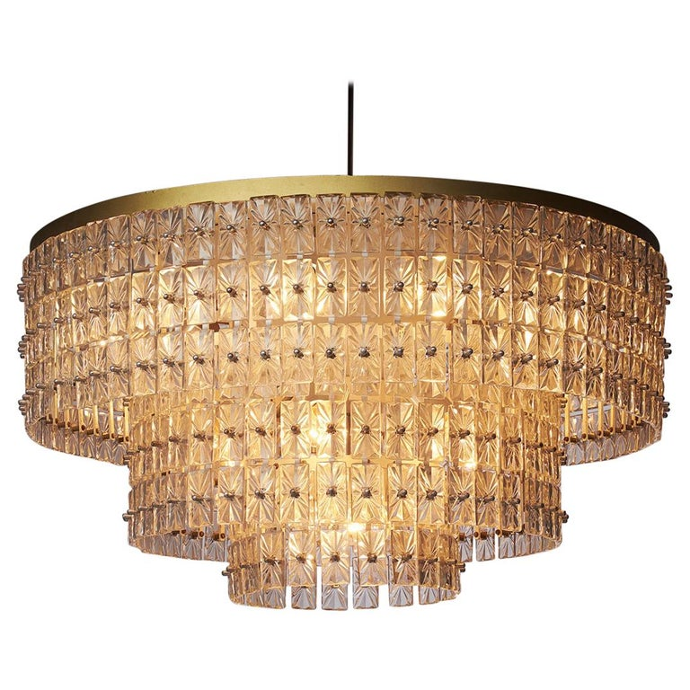 Large Chandelier in Glass and Brass, Austria, 1950s For Sale
