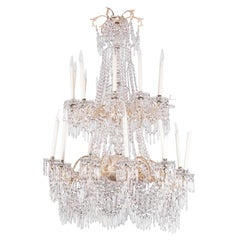 Large Chandelier in Silvered Bronze and Crystal, Napoleon III Period