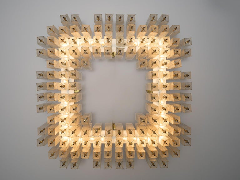 Mid-Century Modern Large Chandelier in Structured Glass and Brass For Sale