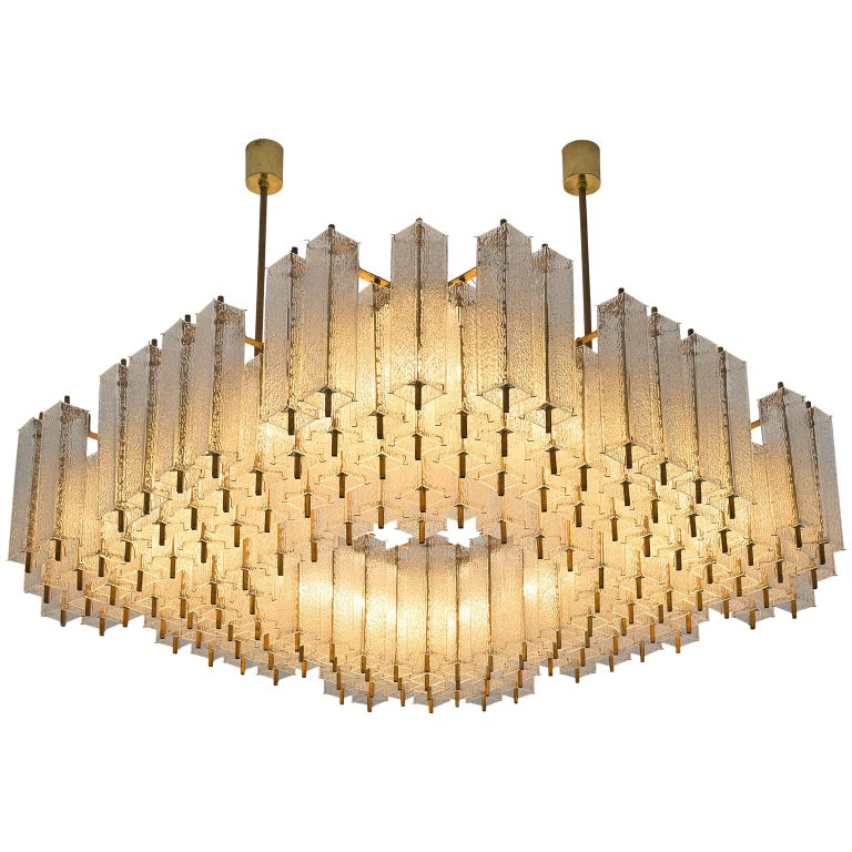 Large Chandelier in Structured Glass and Brass For Sale