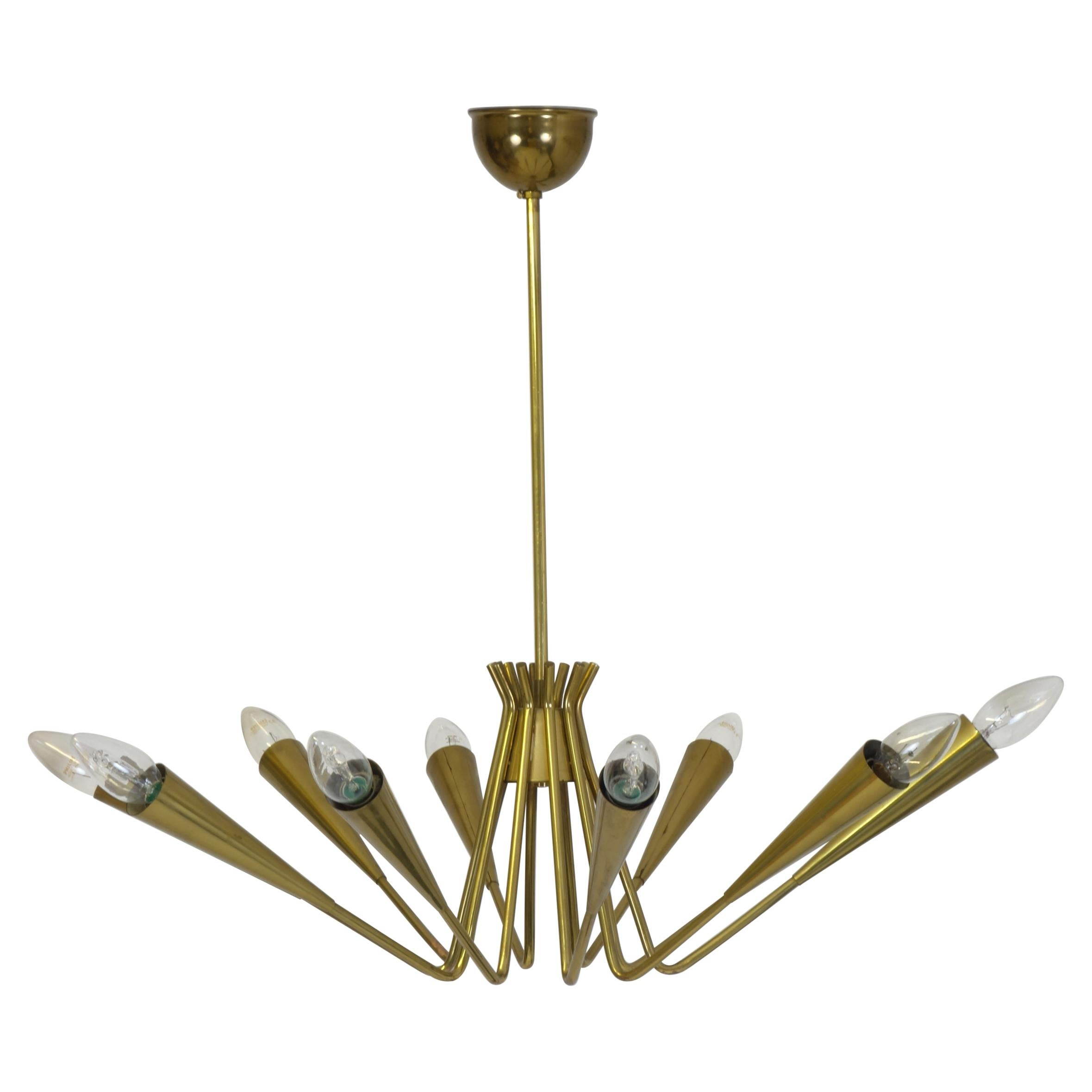 Large Chandelier or Pendant Brass in the Manner of Design Stilnovo, Italy 1950s