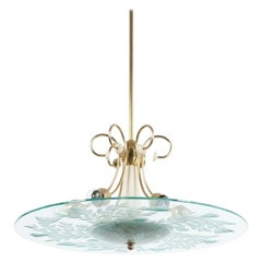 Large Chandelier by Luigi Brusotti, circa 1945, Italy