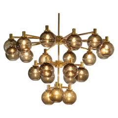 Large Chandelier Smoked Glass Hans Agne Jakobsson Style Vintage