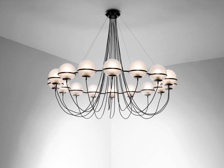 Large chandelier, metal and glass, Europe, 1970s.