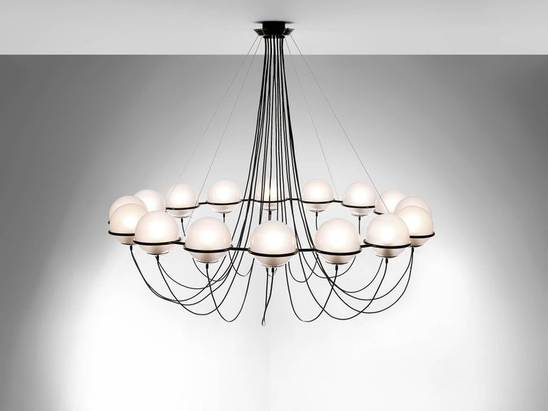 Mid-Century Modern Large Chandelier with 16 Glass Spheres For Sale