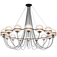 Large Chandelier with 16 Glass Spheres