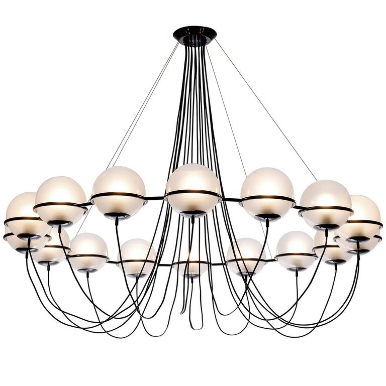 Large Chandelier with 16 Glass Spheres For Sale