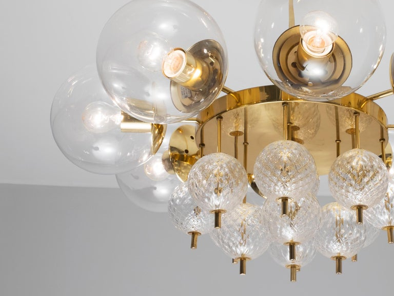 Mid-Century Modern Large Chandelier with Brass and Glass Bulbs For Sale