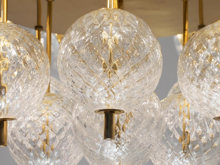 Czech Large Chandelier with Brass and Glass Bulbs For Sale