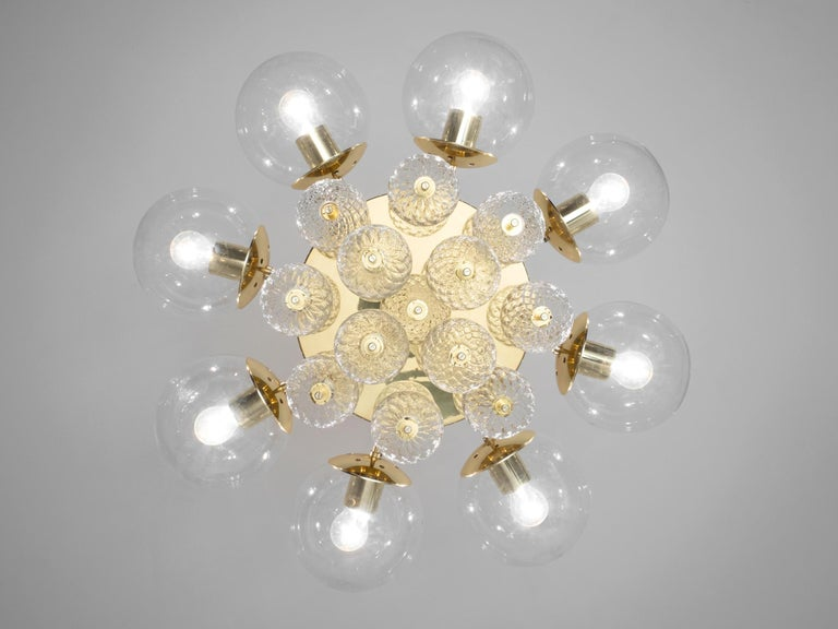Large Chandelier with Brass and Glass Bulbs In Good Condition For Sale In Waalwijk, NL