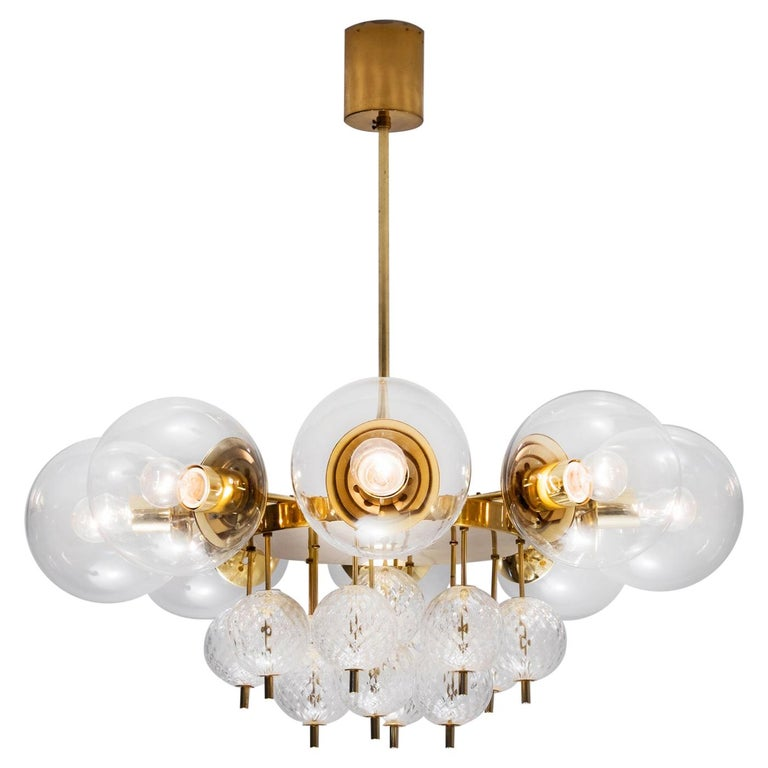 Large Chandelier with Brass and Glass Bulbs For Sale