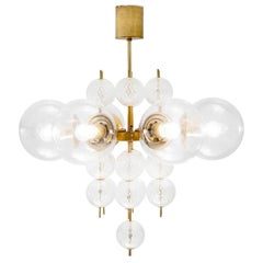 Large Chandelier with Brass and Structured Glass Bulbs