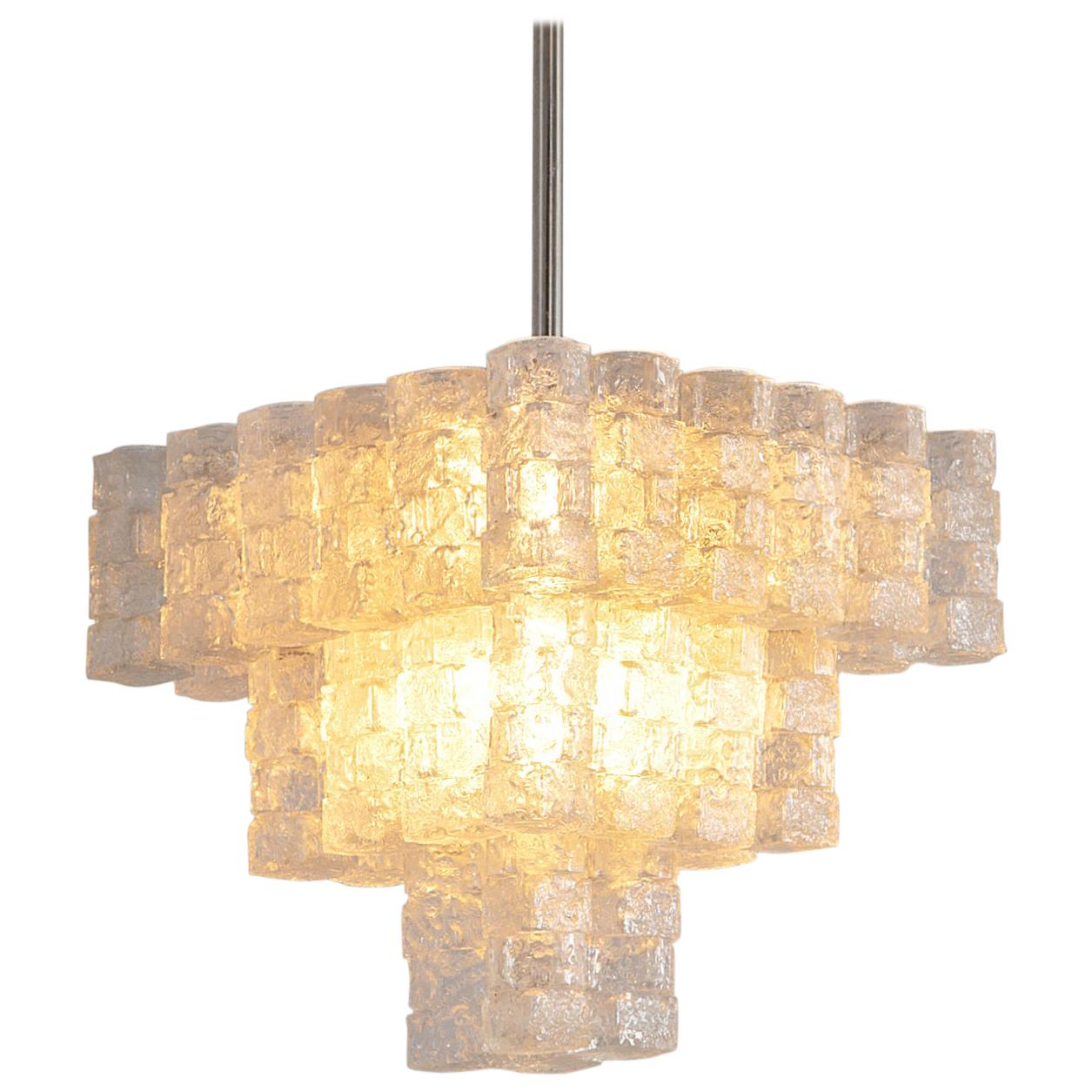 Large Chandelier with Frosted Glass Cubes