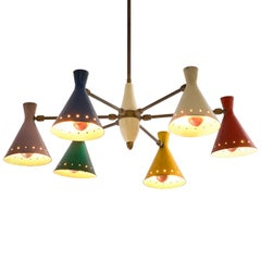 Large Chandelier with Six Metal Colored Shades
