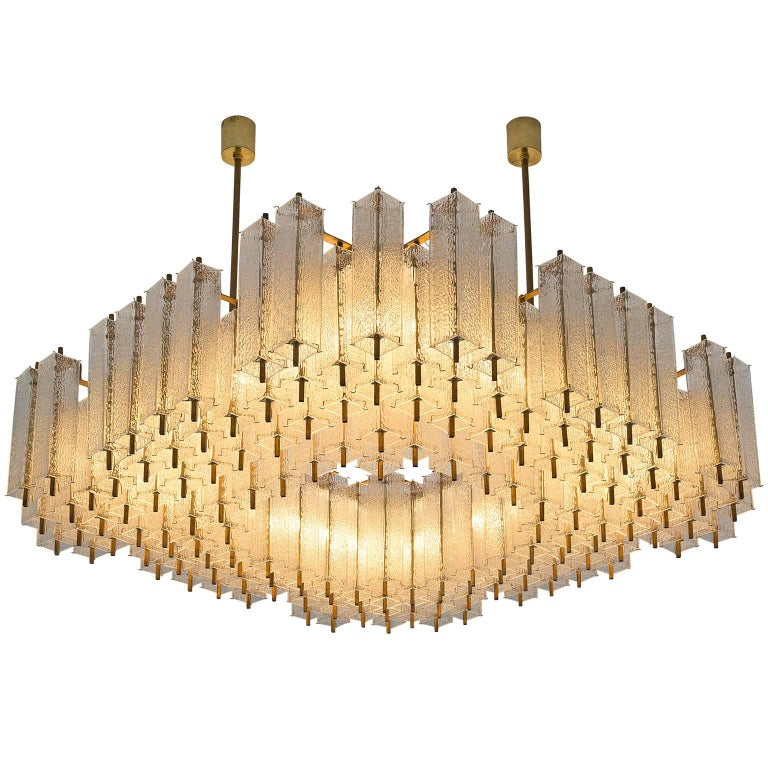 Large Chandeliers in Structured Glass and Brass