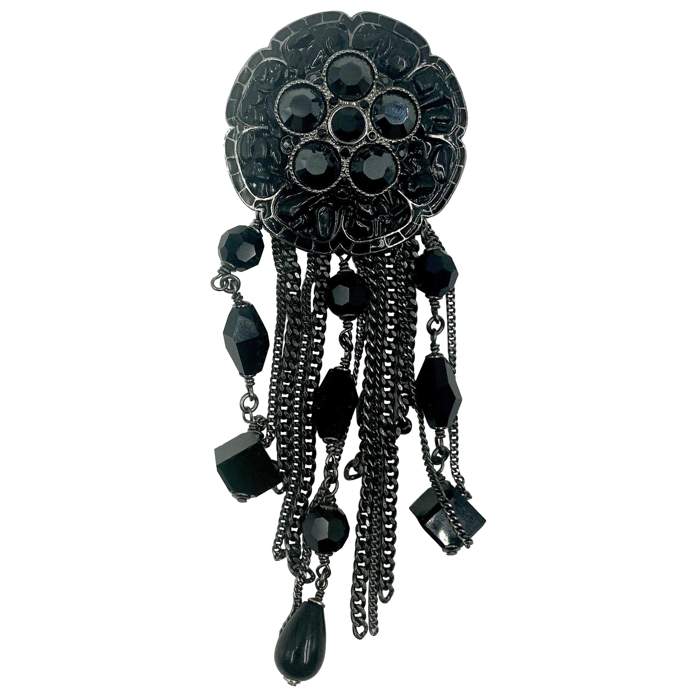 Large Chanel Black Poured Resin and Faceted Bead Camelia Brooch, circa 2000