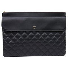 Large CHANEL Black Quilted Leather Clutch