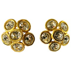 Large Chanel Gilt Diamante Headlight Statement Earrings Circa 1990s