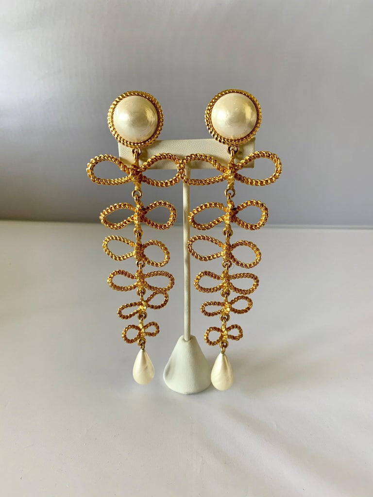 Large Chanel  Haute Couture Gilt Bow and Pearl Chandelier Statement Earrings  In Excellent Condition For Sale In Palm Springs, CA