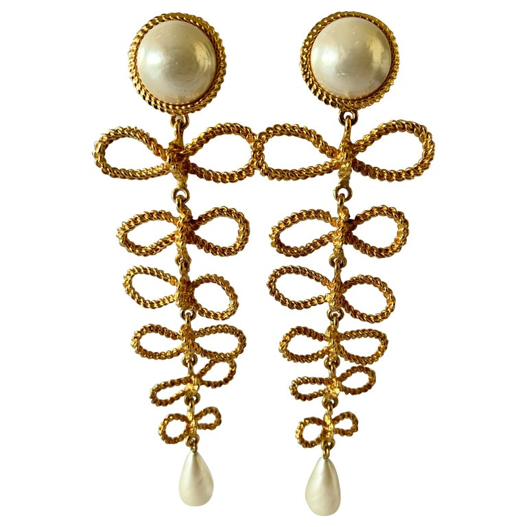 Large Chanel  Haute Couture Gilt Bow and Pearl Chandelier Statement Earrings  For Sale