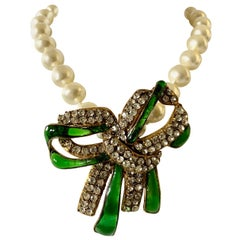 Large Chanel Pearl and Diamante Bow Statement Necklace