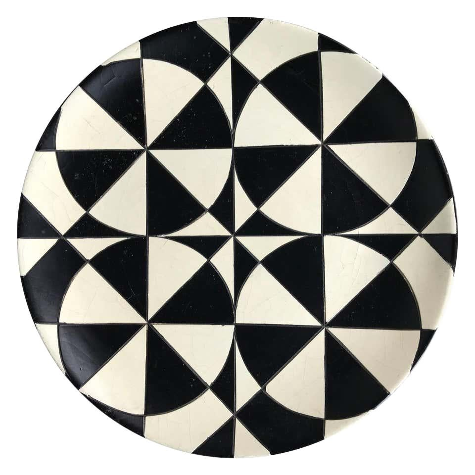 Large Charger Black and White Op Art Ceramic Bowl