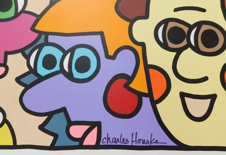 Modern vibrant 2001 Charles Houska original painting measuring four feet by four feet. Pop-artist Charles Houska (pronounced House-ka) has been a working artist for more than 20 years, and now has his own studio/gallery, Houska Gallery, in St.