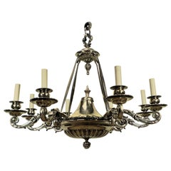 Large Charles II Style Silver Plated Bronze Chandelier