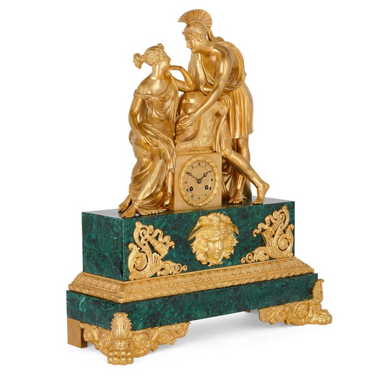 Large Charles X period gilt bronze and malachite clock French, circa 1830 Measures: Height 62cm, width 54cm, depth 20cm  This fine mantel clock is a superb example of the Charles X style. The clock, wrought from malachite and gilt bronze,