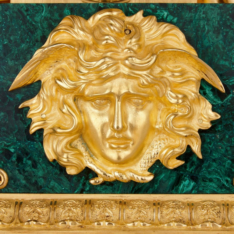Large Charles X Period Gilt Bronze and Malachite Clock In Good Condition For Sale In London, GB