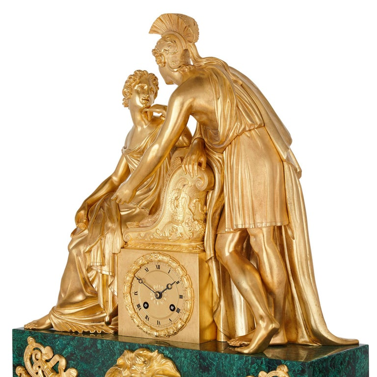 Large Charles X Period Gilt Bronze and Malachite Clock For Sale 2