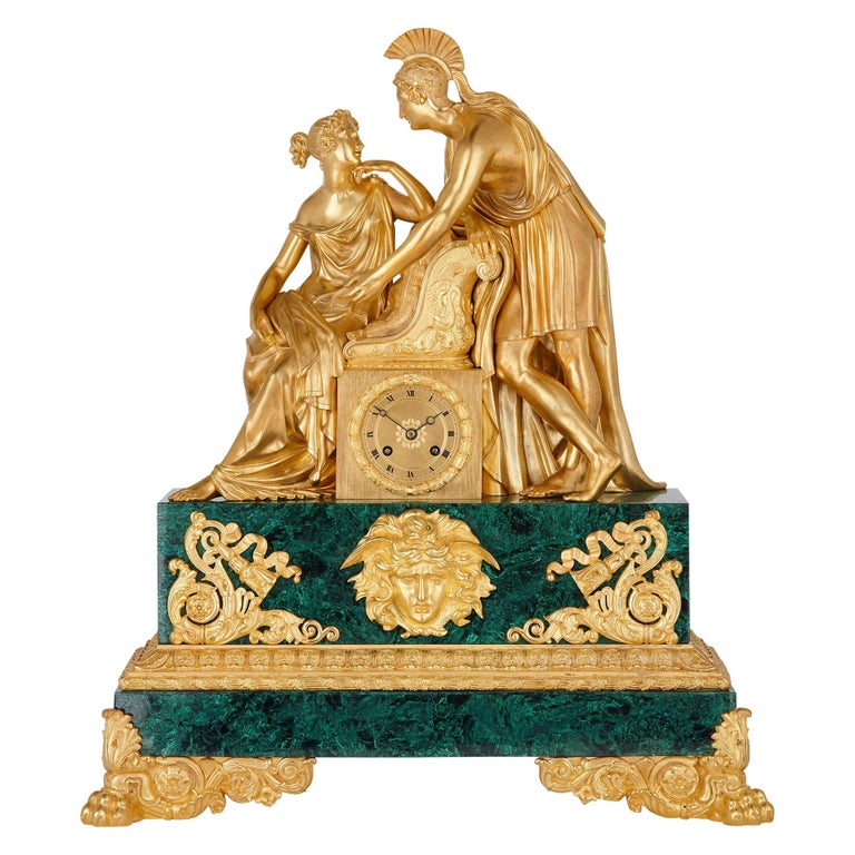 Large Charles X Period Gilt Bronze and Malachite Clock For Sale