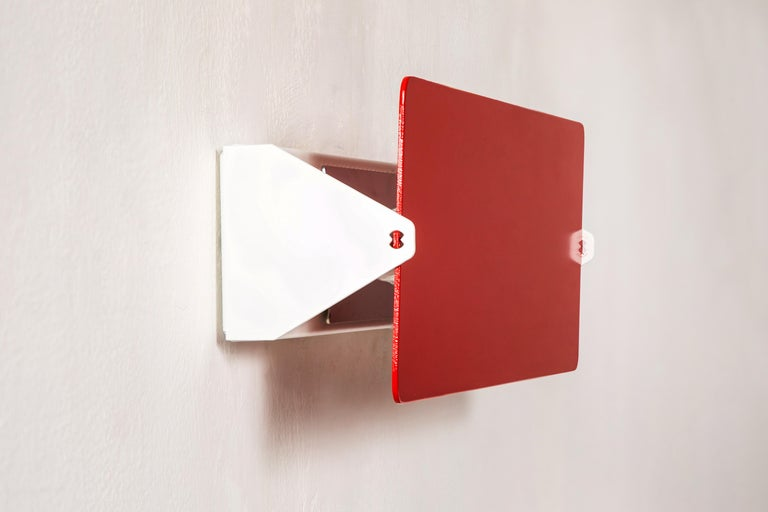 Large Charlotte Perriand 'Applique À Volet Pivotant Double' Wall Lights in Red For Sale 2