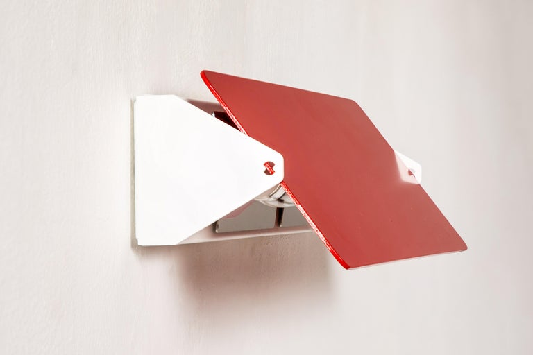 Large Charlotte Perriand 'Applique À Volet Pivotant Double' Wall Lights in Red For Sale 3