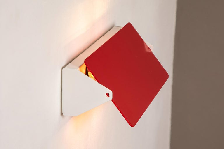 Large Charlotte Perriand 'Applique À Volet Pivotant Double' Wall Lights in Red For Sale 4
