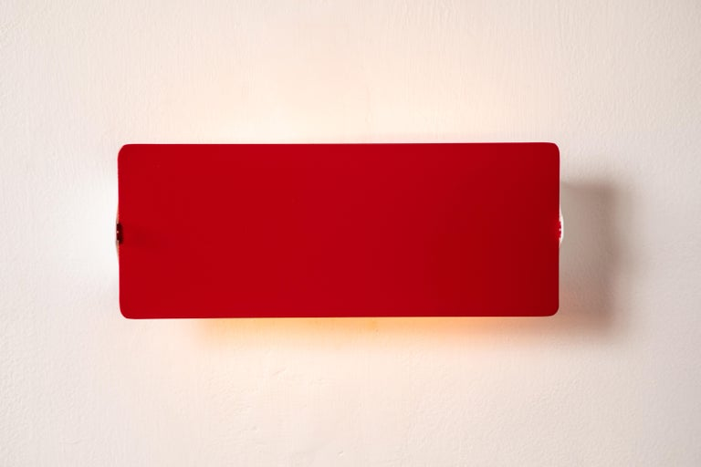 Mid-Century Modern Large Charlotte Perriand 'Applique À Volet Pivotant Double' Wall Lights in Red For Sale