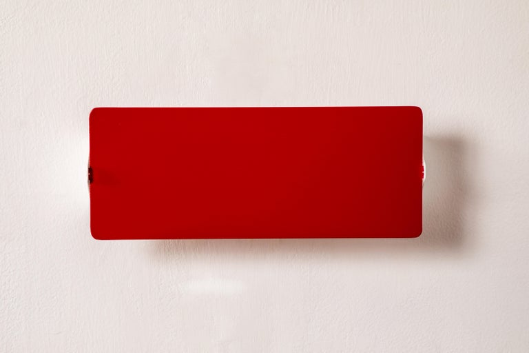 French Large Charlotte Perriand 'Applique À Volet Pivotant Double' Wall Lights in Red For Sale